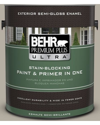 BEHR Premium Plus Ultra 1 gal. #PPU18-13 Perfect Taupe Semi-Gloss Enamel Exterior Paint and Primer in One