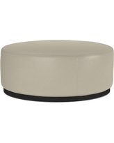 Robertson Round Ottoman, Italian Distressed Leather, Ivory