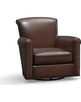 Irving Leather Swivel Glider, Polyester Wrapped Cushions, Leather Burnished Walnut