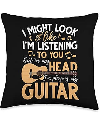Guitar Player Musician Gifts Guitarist I Might Look Like Im Listening To You Funny Guitar Throw Pillow, 16x16, Multicolor