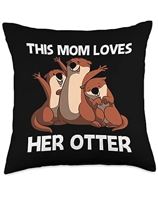 Best Giant Otter Aquatic Mammal Zookeeper Clothes Funny Gift for Mom Mother Sea Otter Animal Pet Costume Throw Pillow, 18x18, Multicolor