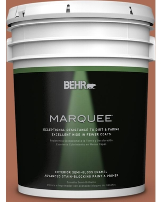 BEHR MARQUEE 5 gal. #BIC-45 Airbrushed Copper Semi-Gloss Enamel Exterior Paint and Primer in One