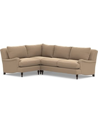 Carlisle Upholstered Right Arm 3 Piece Corner Sectional, Polyester Wrapped Cushions, Performance Plush Velvet Camel