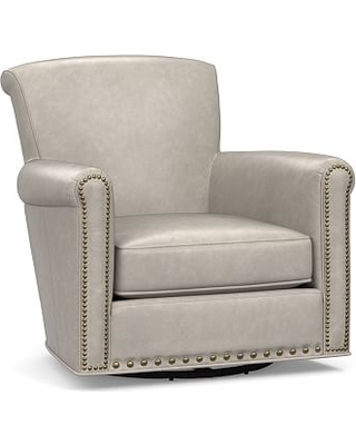 Irving Roll Arm Leather Swivel Armchair with Bronze Nailheads, Polyester Wrapped Cushions, Statesville Pebble