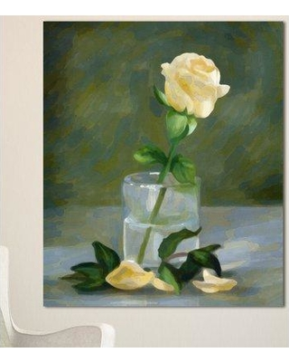 "Design Art 'Rose Flower in Glass Watercolor' Painting Print on Wrapped Canvas PT13597- Size: 40"" H x 30"" W x 1"" D"