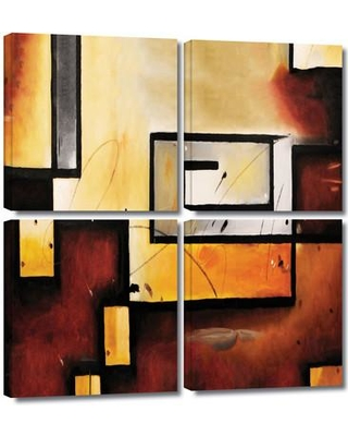 """ArtWall 'Abstract Modern' by Jim Morana 4 Piece Painting Print on Wrapped Canvas Set 0mor101e3636w / 0mor101e4848w Size: 36"""" H x 36"""" W x 2"""" D"""