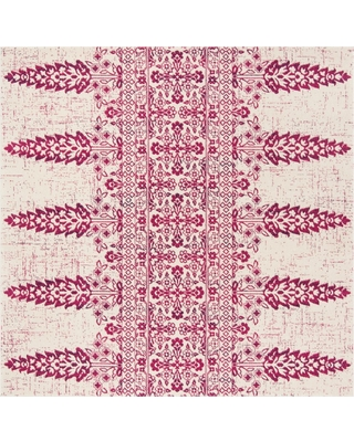 """Ivory/Fuchsia (Ivory/Pink) Floral Loomed Square Area Rug 6'7""""X6'7"""" - Safavieh"""