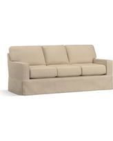 """Buchanan Square Arm Slipcovered Sofa 83.5"""", Polyester Wrapped Cushions, Twill Parchment"""