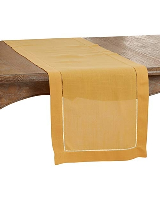 """SARO LIFESTYLE Rochester Collection Table Runner with Hemstitched Border, 16"""" x 120"""", Mustard"""