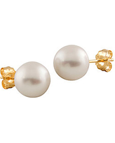 8-8.5MM White Pearl and 14K Yellow Gold Stud Earrings