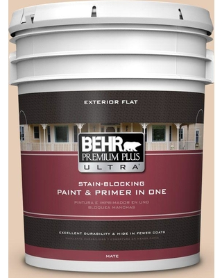 BEHR Premium Plus Ultra 5 gal. #PPU3-06 Venetian Mask Flat Exterior Paint and Primer in One