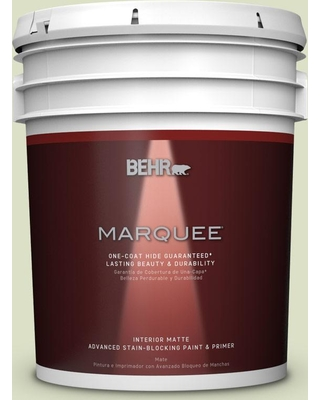 BEHR MARQUEE 5 gal. #MQ3-47 Airy Green One-Coat Hide Matte Interior Paint and Primer in One