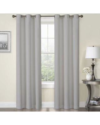 "Alcott Hill Josue Faux Solid Semi Sheer Thermal Grommet Curtain Panels BF056741 Size per Panel: 54"" W x 84"" L Curtain Color: Gray"