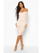 Womens Off Shoulder Ruched Mesh Bodycon Midi Dress - Beige - 14