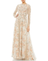 Mac Duggal Beaded Floral Print Long Sleeve A-Line Gown, Size 12 in Nude at Nordstrom
