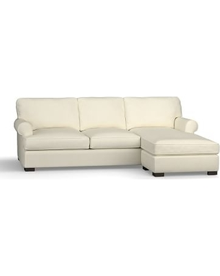 Townsend Roll Arm Upholstered Sofa with Reversible Storage Chaise Sectional, Polyester Wrapped Cushions, Premium Performance Basketweave Ivory