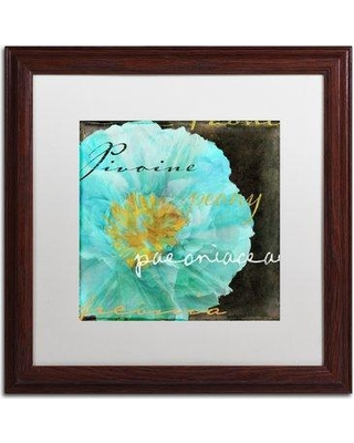 """Trademark Fine Art 'Blue Peony Dark' by Color Bakery Framed Graphic Art ALI4146-W1 Mat Color: White Size: 16"""" H x 16"""" W x 0.5"""" D"""