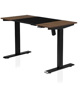 Furniture of America Grant Two-Tone Height Adjustable Electric Office Desk, 47.25-inch, Black and Walnut