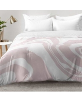 East Urban Home Marble Structure Comforter Set EAHU7619 Size: King, Color: Pink