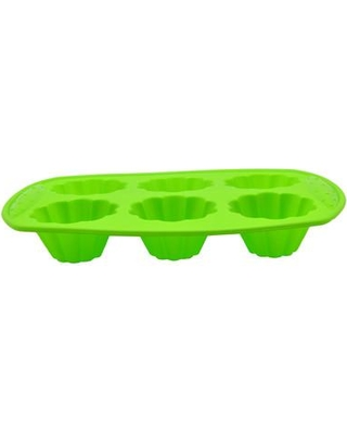 Prime Cook 6 Cup Non-Stick Silicone Flower Shape Mold HC049 Color: Green