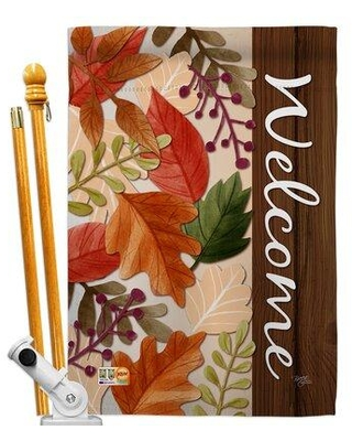 Spectacular Deals On Breeze Decor Bo Autumn Leaves 2 Sided Polyester 40 X 28 In Flag Set In Red Brown Beige Size Medium 13 30 Wide Wayfair