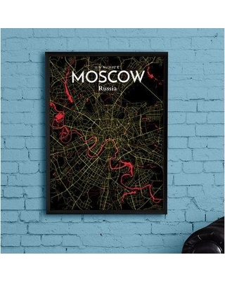 """Wrought Studio 'Moscow City Map' Graphic Art Print Poster in Contrast BI153363 Size: 20"""" H x 16"""" W x 0.05"""" D"""