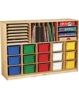 Childcraft Mobile Portfolio Center 15 Compartment Cubby with Trays 296204