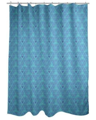 ArtVerse Patricia Geoffrey Classic Hand Drawn Triangles Single Shower Curtain GEO0-SCDHOS Color: Teal/Blue