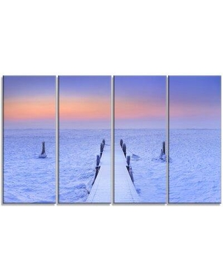 Design Art 'Jetty in Frozen Lake Netherlands' 4 Piece Graphic Art on Wrapped Canvas Set PT11170-271