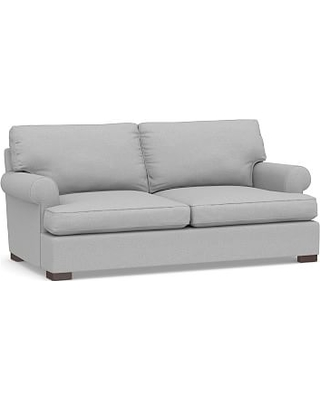 """Townsend Roll Arm Upholstered Loveseat 79"""", Polyester Wrapped Cushions, Brushed Crossweave Light Gray"""