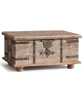Kaplan Global Trunk Coffee Table, Reclaimed Whitewash, Small