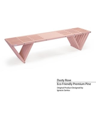 Backless Wood Bench 6' Made in America (Dusty Rose)