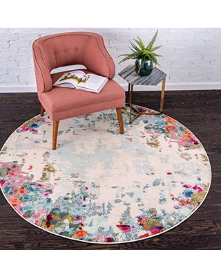 Unique Loom Chromatic Collection Modern Abstract Rustic Area Rug, 3' 3 x 3' 3 Round, Multi/Beige