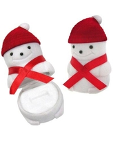 The Holiday Aisle® White Velour Snowman Snow Girl Gift Box, Ring, Earrings, Etc 21D7F1E28BC24E5999243470E3952FF3 Faux Suede/Suede in Red/White