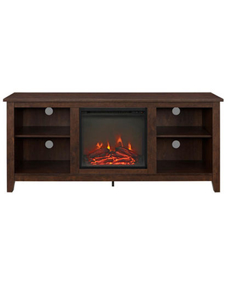 """58"""" Wood Electric Fireplace Media TV Stand Console, One Size , Brown"""