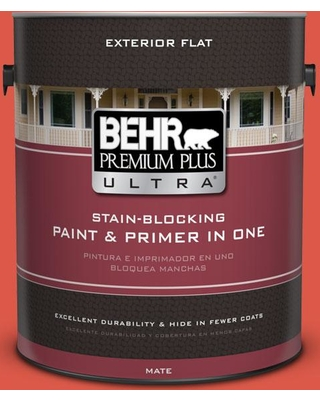 BEHR Premium Plus Ultra 1 gal. #T12-7 Red Wire Flat Exterior Paint and Primer in One