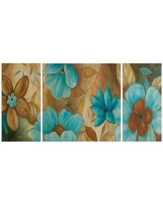 """Wexford Home A Premium 'Garden Blues II' Painting Multi-Piece Image on Canvas 14379-3P Size: 40"""" H x 80"""" W x 1.5"""" D"""