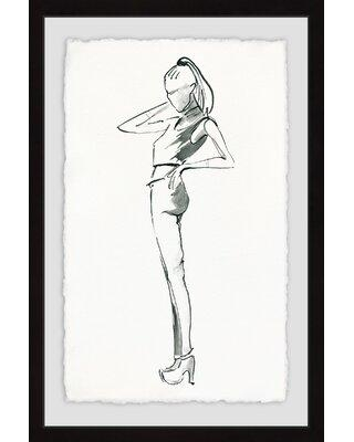 """House of Hampton® 'Sporty Girl' Framed Watercolor Painting Print, Paper in Brown, Size 24"""" H x 16"""" W 