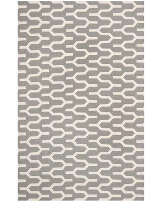 Safavieh Dhurries Silver/Ivory 6 ft. x 9 ft. Area Rug