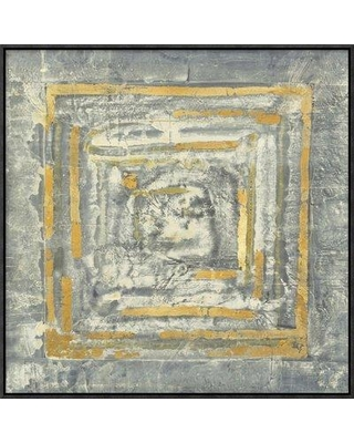 """East Urban Home 'Gold Tapestry I Gold and White' Print EUHE2038 Size: 24.8"""" H x 24.8"""" W Format: Black Framed Canvas Matte Color: No Matte"""