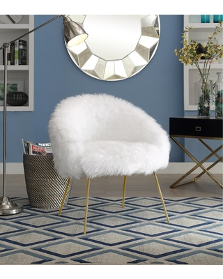 Inspired Home Pamela Faux Fur Accent Chair - Metal Legs Glam Living Room,  Entryway, Bedroom Inspired Home - White from Dot & Bo | People