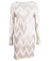 Vince Camuto Women's Sequined Mini Bodycon Dress (8, Ivory/Gold)