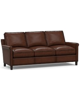 Tyler Roll Arm Leather Sofa with Bronze Nailheads, Down Blend Wrapped Cushions, Burnished Walnut