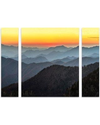 "East Urban Home 'Great Smoky Sunset' Graphic Art Print Multi-Piece Image on Wrapped Canvas W000028852 Size: 30"" H x 41"" W x 2"" D"