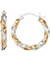 Primavera Two-Tone 24k Gold and Sterling Silver Twisted Hoop Earrings, Women's