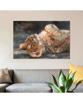 """East Urban Home 'Lion Cub on Back' Graphic Art Print on Canvas EBHU8600 Size: 40"""" H x 60"""" W x 1.5"""" D"""