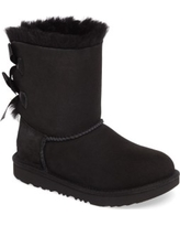 Girl's Ugg Bailey Bow Ii Water Resistant Genuine Shearling Boot, Size 2 M - Black