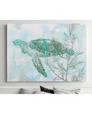 "Bay Isle Home 'Sea Turtle II' Watercolor Painting Print on Canvas BF182414 Size: 24"" H x 32"" W x 1.5"" D"