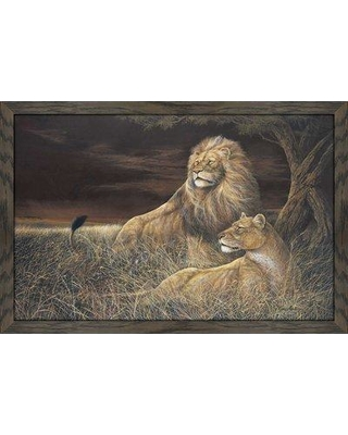 """World Menagerie 'Winds Serengeti' Framed Oil Painting Print W000535337 Size: 27.5"""" H x 39.5"""" W x 0.75"""" D"""
