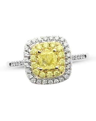 Jared The Galleria Of Jewelry Diamond Engagement Ring 1 ct tw Round/Cushion 14K Two-Tone Gold